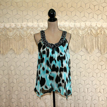 Womens Summer Tops Small Sleeveless Babydoll Boho Edgy Teal Black Animal Print Chiffon High Low Hippie Bohemian Clothing  Womens Clothing