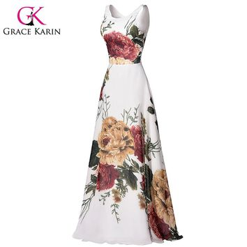 Grace Karin Flower Pattern Floral Prom Dresses Sleeveless Floor Length Long Party Dress Chiffon Elegant Formal Evening Gown