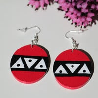 Handpainted wooden earrings with black, white and ruby Aztec pattern. Maya pattern.