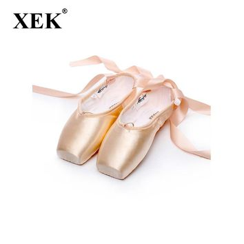 XEK Satin Canvas Pointe  Shoes For Women With Ribbon And Gel Toe Pad Girls Women's Pink Ballet Dance Shoe size 36-41 GSS113