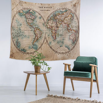 Split World Map Custom Printed Unique Dorm Decor Apartment Decor Trendy Wall Art Printed Wall Hanging Wall Tapestry