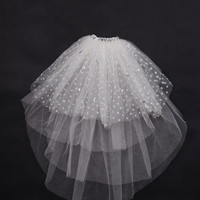 Pretty Elbow Wedding Bridal Veil with Flower Decoration
