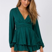 String Of Stars Playsuit Forest Green | Princess Polly