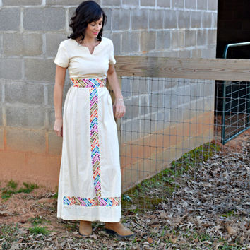 70's Vintage Linen Maxi Dress Colorful Embroidery/ Lounge Craft Original /Wedding Guest Dress