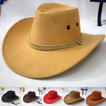 Western Cowboy Hat- Riding Cap Fashion Accessory Wide Brimmed