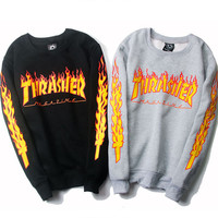 Thrasher Sweatshirt 1:1 Couple Pullovers Hiphop Skateboard Sweatshrit Cotton Pullover Men's Sweatshirts