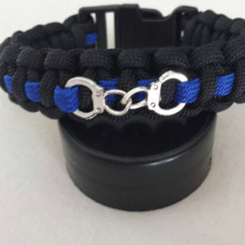 Thin Blue Line Survival Paracord Handcuff Bracelet