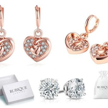 18K Rose Gold Plated Heart Drop Earrings Made with Swarovski Elements by Rubique Jewelry