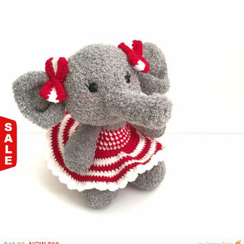 Sale -  Amigurumi Elephant Crochet Elephant Toy Plush Kawaii Elephant Nursery Decor Elephant Baby Shower Birthday Holiday Gift Ideas Photo P