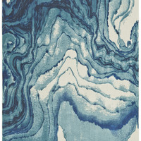 Watercolor Collection Power Loomed Polypropylene Area Rug in Atlantic design by BD Fine