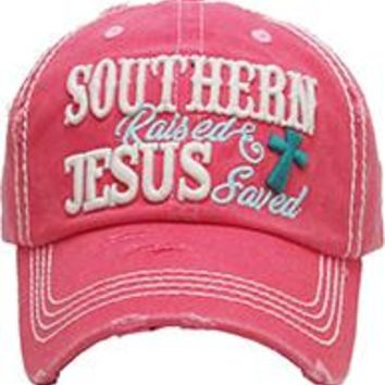 SOUTHERN RAISED JESUS SAVED DISTRESSED AND FADED Womens HAT AND CAP