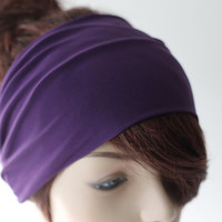 Royal Purple Turban Head Wrap / Band, Women's Wide Headband, Turband, Stretch Fabric, Stretchy Yoga Headband, Hair Accessories