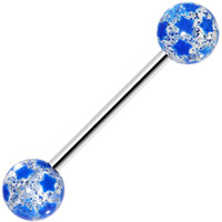 Blue Glitter Star Barbell Tongue Ring | Body Candy Body Jewelry