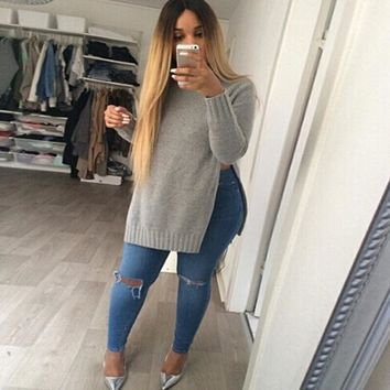 Split Sides Knitted Sweater