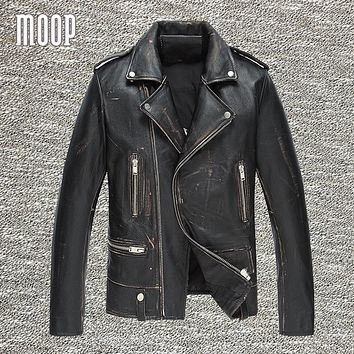 Vintage genuine leather jacket men cow leather motorcycle jackets cowskin real leather coats veste cuir homme cappotto LT1036