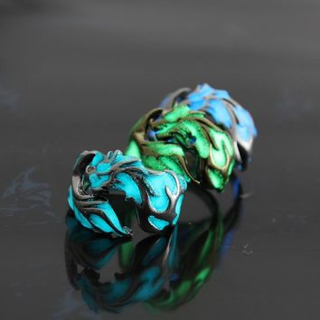 Luminous Dragon Rings Gold Silver Women Rings Glow In The Dark Male Mens Ring Jewelry