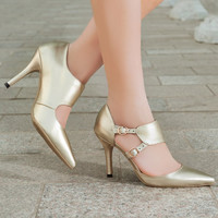 Design Stylish Leather High Heel Gold Pointed Toe Summer Shoes Sandals [4920624772]