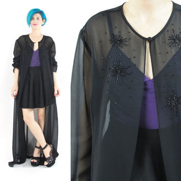 90s Sheer Black Duster Jacket Sheer Blouse Sequin Jacket Long Sleeve Shirt Draped Goth Beaded Jacket Cardigan See Through Coverup (L/XL)