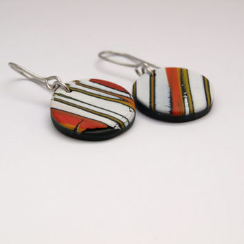 Small Round Dangle Earrings in Polymer Clay, Abstract Colorful Lines Pattern, OOAK