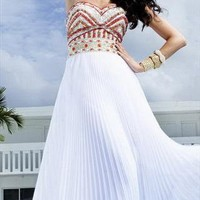 Gorgeous Beaded Pleated Long Maxi Dress from Caminati-Collection