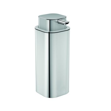 Neli Free Standing Pump Soap Lotion Dispenser Glass for Bathroom, Polished Steel