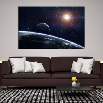 63743 - Planet Earth Moon Wall Art, Space Wall Art, Earth n Moon Art, Planet Earth Canvas, Space Canvas Art, Earth Moon and Stars, Moon Poster, Galaxy Art