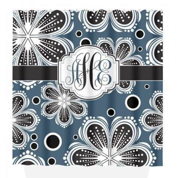 MONOGRAM SHOWER CURTAIN, Floral Pattern, Blue Black Bathroom, Custom Personalized Decor, Flower Bathroom, Bath Towel,  Bath Mat