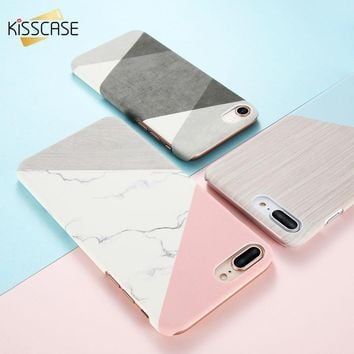 KISSCASE Marble Wooden Patterned Phone Case For iPhone 7 6 8 6s Plus Ultra Thin Cases For iPhone X 5 5s se 10 Fashion Girly Capa