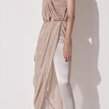 Gold Shimmer one Shoulder Maxi Dress
