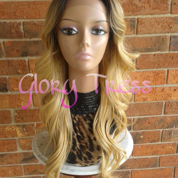 ON SALE // Long Body Wave Lace Front Wig, Dark Rooted Ombre Golden Blonde Wig // MIRACLE  (Free Shipping)