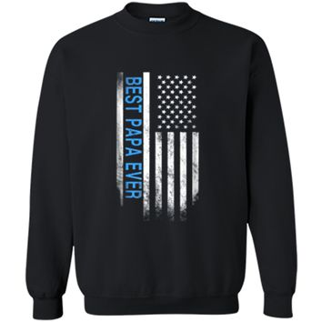 Best Papa Ever American Flag USA Flag Gift for Best Printed Crewneck Pullover Sweatshirt