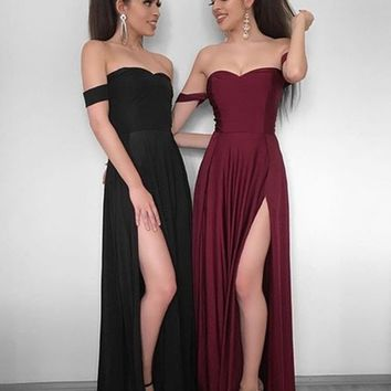 A Line Off Shoulder Black/Burgundy Prom Dress, Black/Maroon Bridesmaid Dresses, Formal Dresses