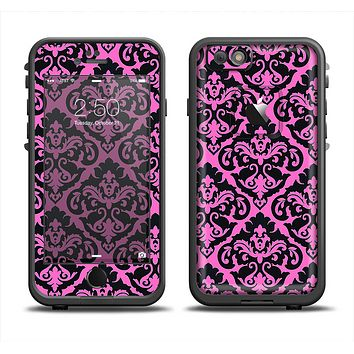 The Pink & Black Delicate Pattern Apple iPhone 6 LifeProof Fre Case Skin Set