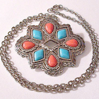 Avon Coral Orange Blue Turquoise Necklace Pendant Pin Brooch Silver Tone Vintage American Spirit Link Chain