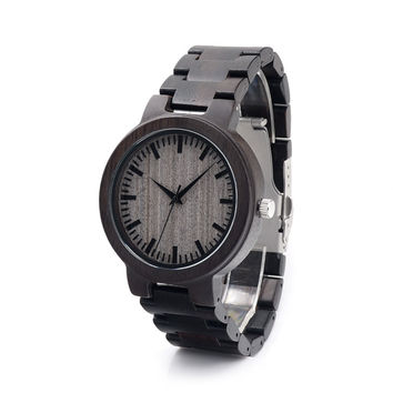 men's japanese miyota movement wristwatches natural ebony full wood wooden watches with gift box