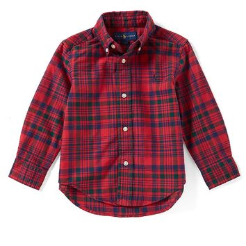 Ralph Lauren Childrenswear Little Boys 2T-7 Plaid Lightweight Oxford Shirt | Dillards