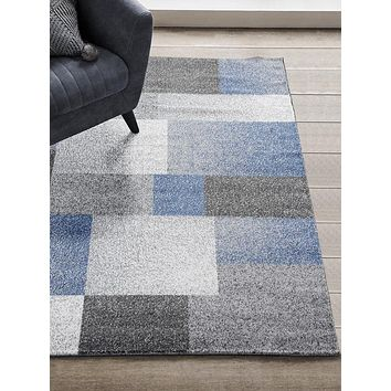 1037 Blue Gray Modern Contemporary Area Rugs
