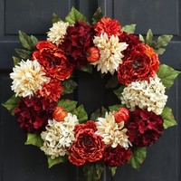 Burgundy Red, Cream & Rusty Orange Fall / Thanksgiving Floral Wreath with Pumpkins