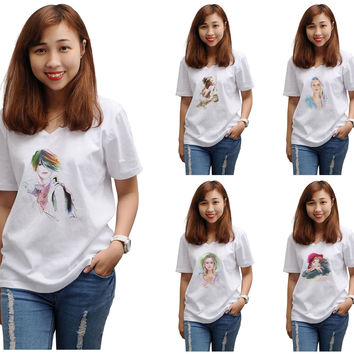 Women Potrait painting Printed V-Neck Short Sleeves T-shirt WTS_16