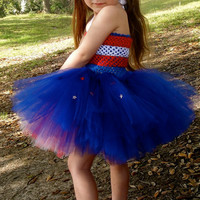 4th of July Patriotic tutu dress with matching rose headband.