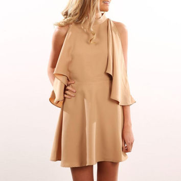 High Collar Cut Out Trumpet Sleeve Dress
