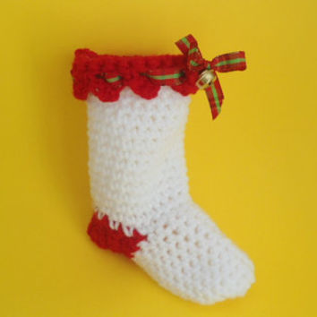 christmas stocking, crochet stocking, santa stocking, small stocking, christmas decor, christmas gift wrap, white stocking, table decor