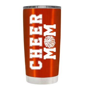 Pom Pom Cheer Mom on Translucent Orange 20 oz Tumbler Cup