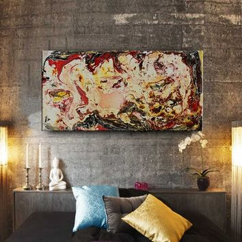 "Mixed media art wall art Fluid painting Mixed media original water color art on canvas abstract office or home decor ""48x24"" (121.92x60.96)"