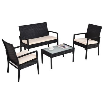 4 PCS Outdoor Patio Rattan Furniture Set Table Chair Sofa Cushioned Seat Garden