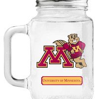 Minnesota Golden Gophers Mason Jar Glass With Lid