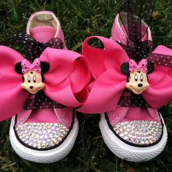 MINNIE MOUSE Inspired SHOES - Minnie Mouse Birthday - Swarovski Crystals - Sparkle Toe