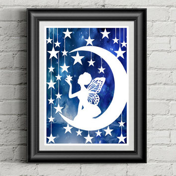 Papercut, Papercut Art, Fairy Art, Fantasy Art, Fairy Wings, Paper Cut Out, Moon Fairy, Fairy Nursery Decor, Baby Girl Nursery