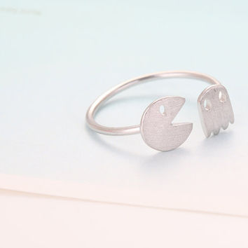 Adjustable Pac-Man Ring - Silver // R0035-SV // Silver ring,Adjustable ring,Novelty ring,Antique Engagement,Eco friendly ,Gift ring