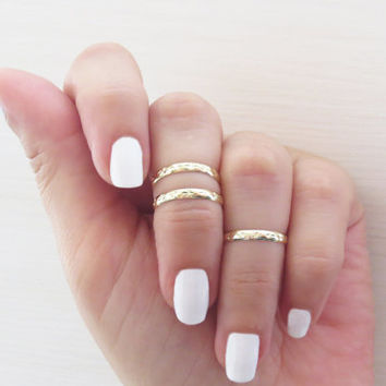 Gold ring, Stacking rings, Above knuckle ring, Goldfilled bands, Set of 3 stack midi rings, Jewelry ring, Gold accessories, Gift for her
